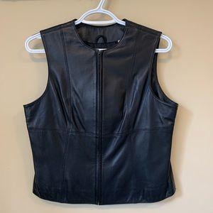 Lord & Taylor Petite Full Zip Black Leather Vest